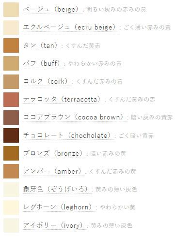 macam jenis warna coklat bahasa jepang