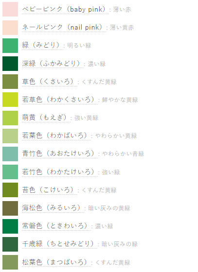hijau muda hijau pupus dalam bahasa jepang